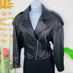 Vintage 80's Black Leather Crop Jacket Motorcycle